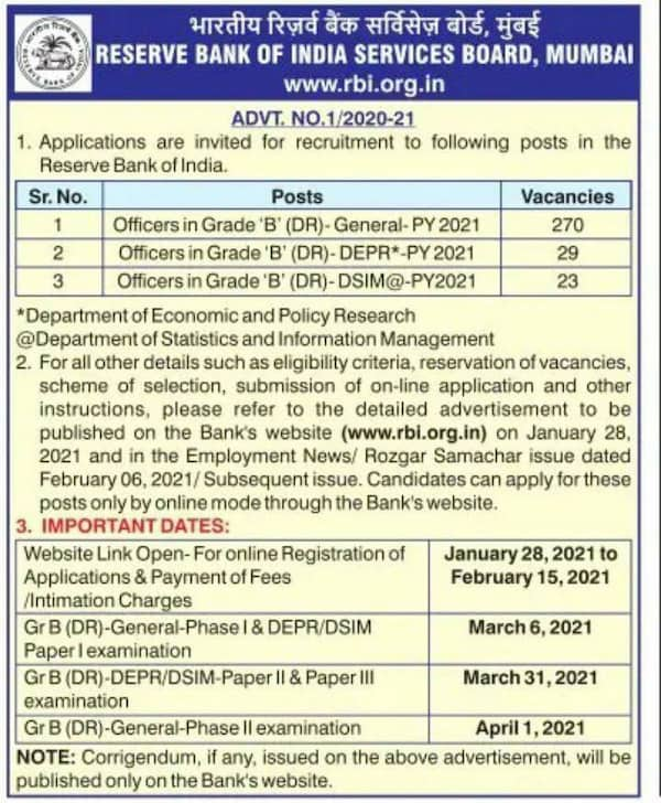 RBI Grade B Job 2021 advertisement